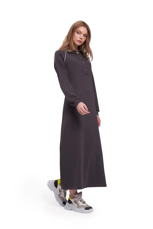 Biyeli Polo Yaka Sweat Antrasit Elbise