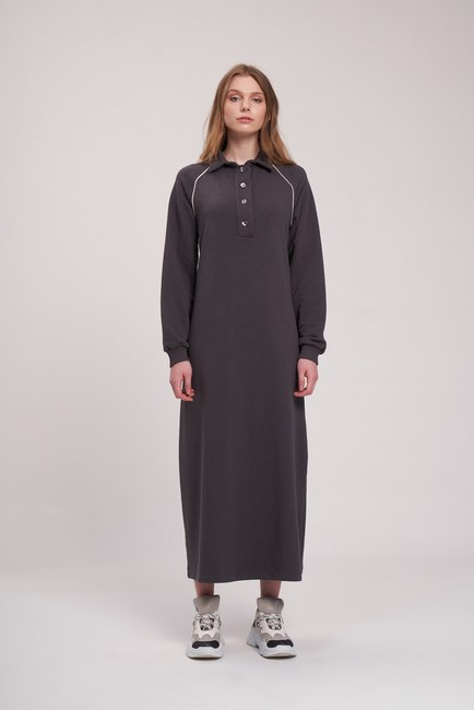 MIZALLE YOUTH - Biyeli Polo Yaka Sweat Elbise (Antrasit) (1)