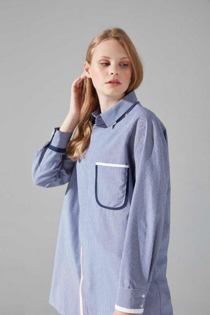Biyeli Mavi Tunik Gömlek - Thumbnail