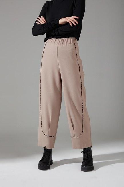 Mizalle - Biyesi Desenli Pantolon (Bej) (1)