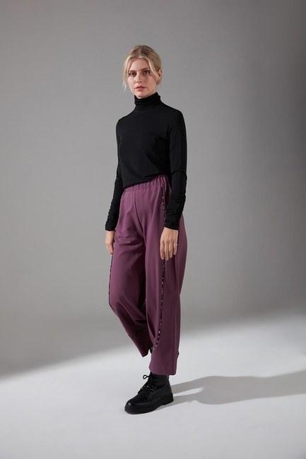 Mizalle - Biyesi Desenli Pantolon (Mor)