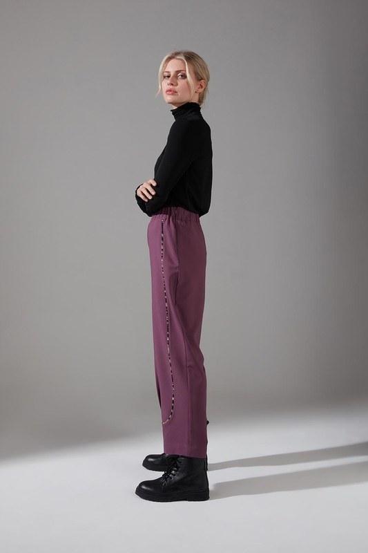 Biyesi Desenli Pantolon (Mor)