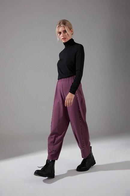Mizalle - Biyesi Desenli Pantolon (Mor) (1)