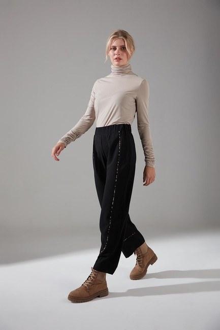 Mizalle - Biyesi Desenli Pantolon (Siyah)