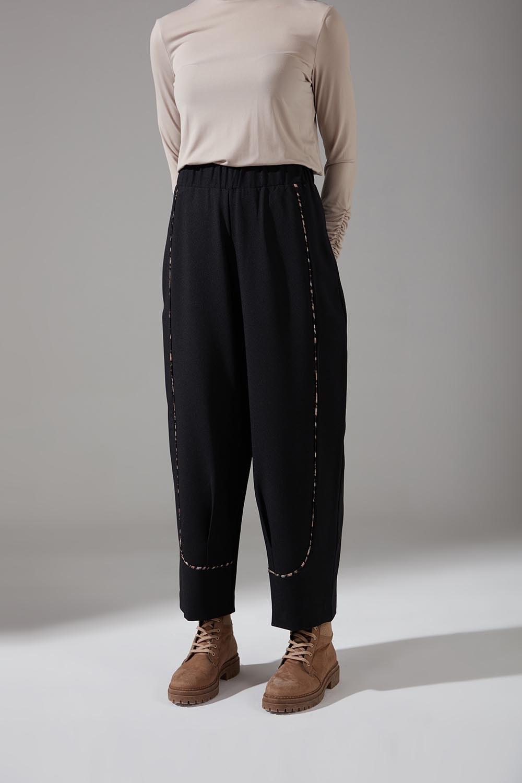Biyesi Desenli Pantolon (Siyah)