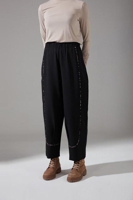 Biyesi Desenli Pantolon (Siyah) - Thumbnail