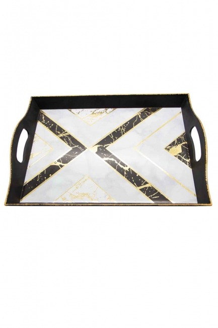MIZALLE HOME - Black Decorative Big Tray (Triangle Form) (1)