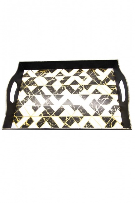 MIZALLE HOME - Black Decorative Small Tray (Triangle Form) (1)
