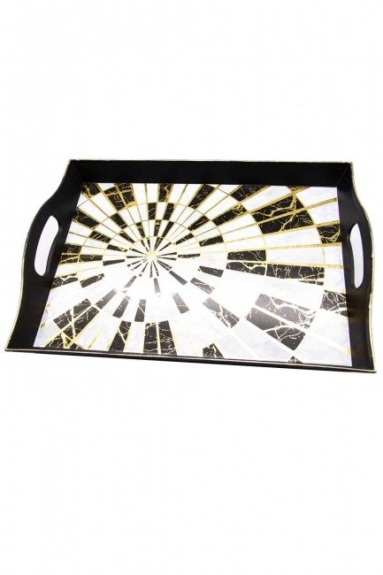 MIZALLE HOME - Black Decorative Tray (Round Form) (1)