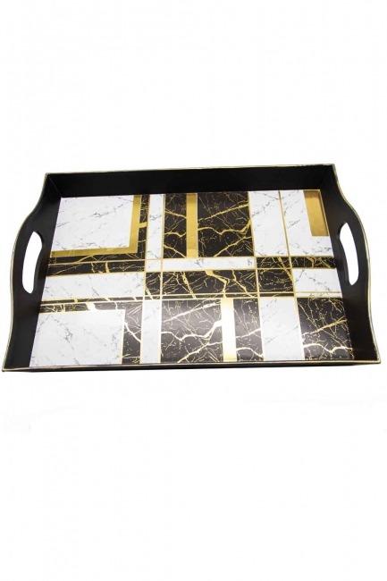 MIZALLE HOME - Black Decorative Tray (Square Form) (1)