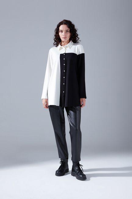 Mizalle - Blok Parçalı Gömlek (Beyaz)
