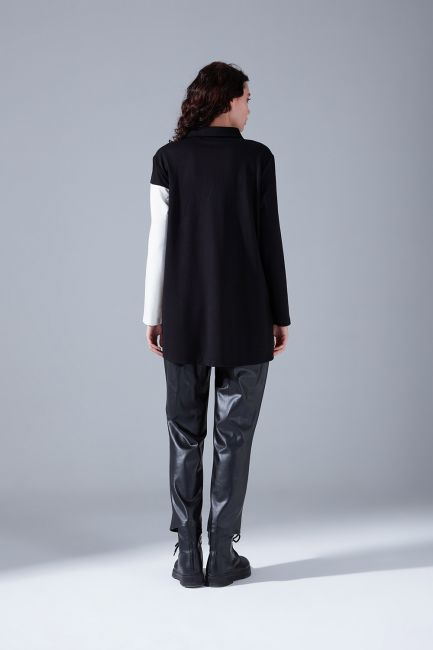 Blok Parçalı Gömlek (Siyah) - Thumbnail