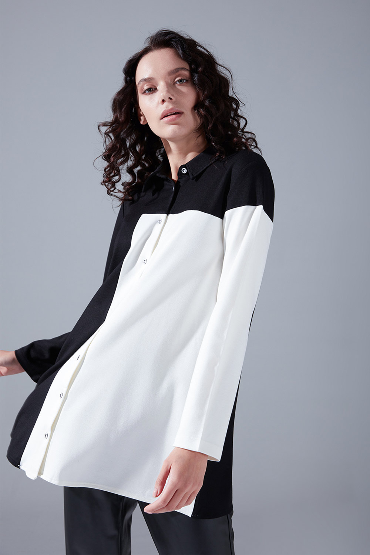 Blok Parçalı Gömlek (Siyah)