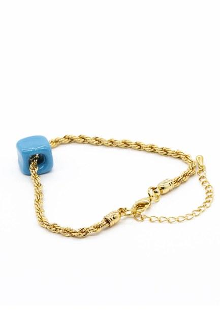 MIZALLE - سوار رفيع من الخرزة الزرقاء (الأصفر) (1)
