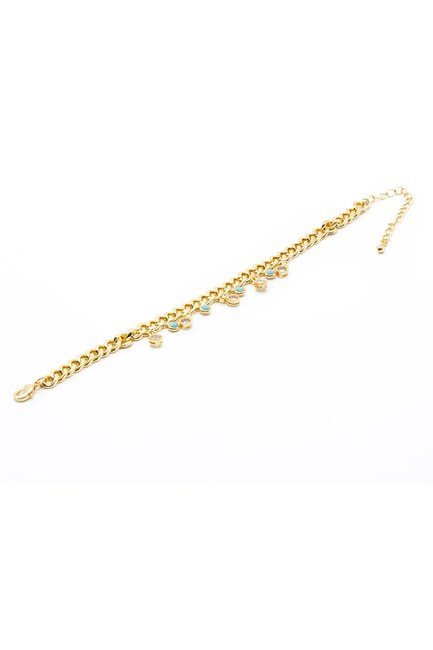 MIZALLE - Blue Stone Chain Bracelet (Yellow) (1)