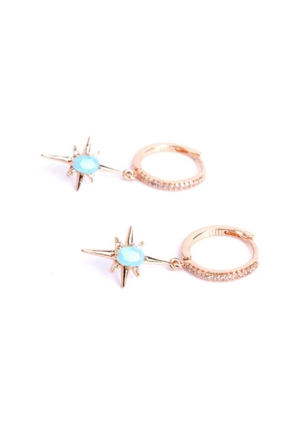 Mizalle - Blue Stoned Star Earrings (Yellow) (1)