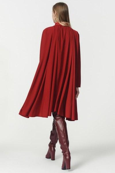 Bol Kesim Yaka Detaylı Elbise (Bordo) - Thumbnail