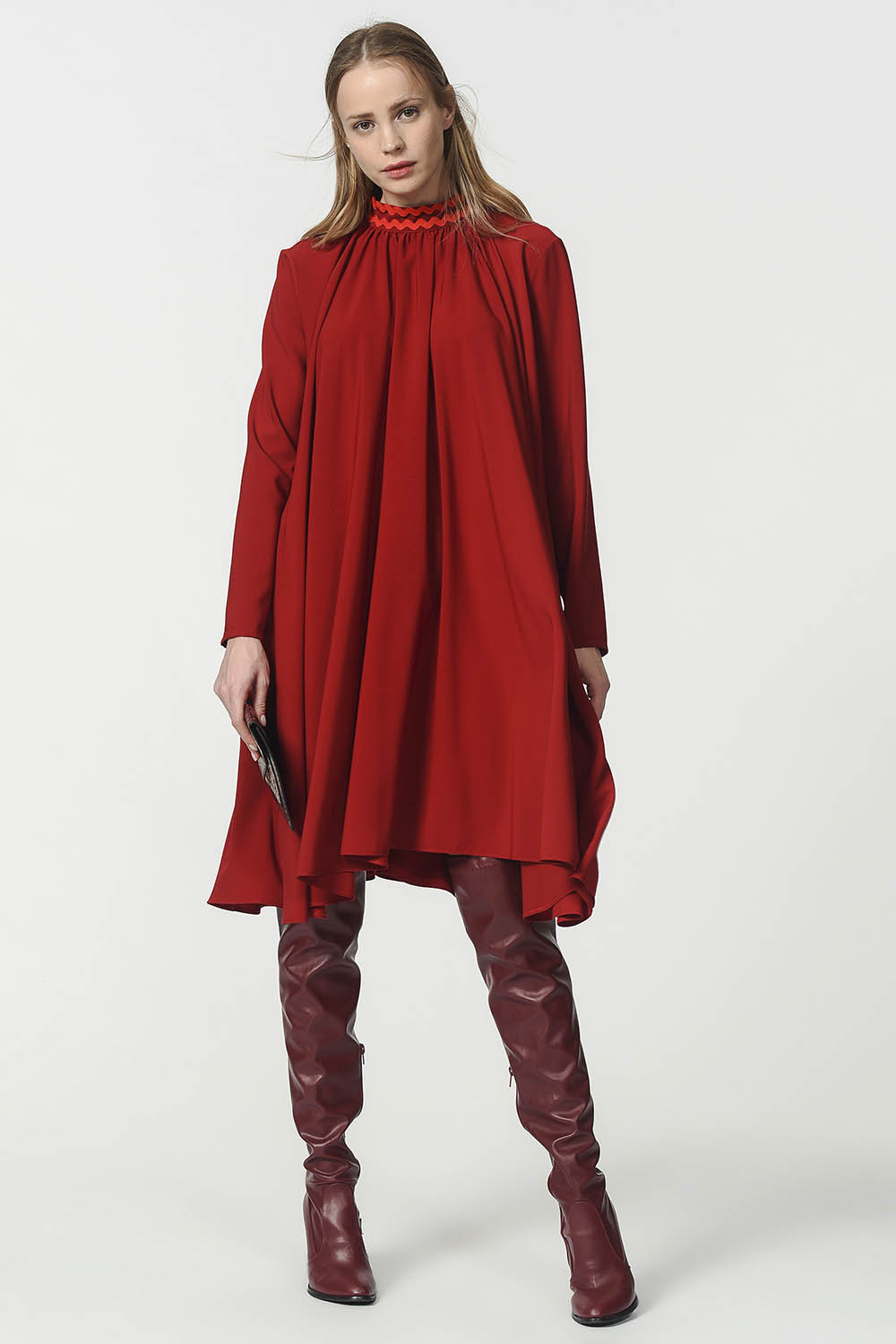 MIZALLE Wide Cut Collar Detailed Dress (Claret Red) (1)