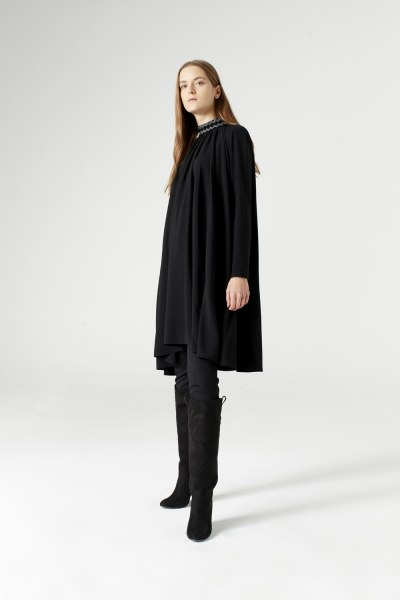 Wide Cut Collar Detailed Dress (Black) - Thumbnail
