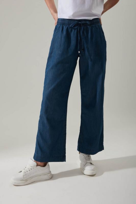 Bol Paça Denim Koyu Mavi Pantolon
