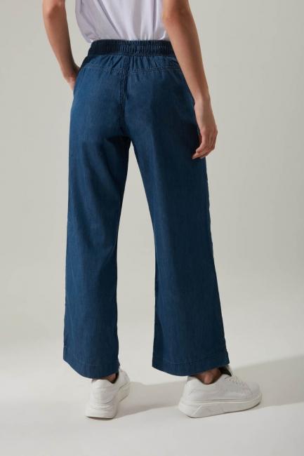 Bol Paça Denim Koyu Mavi Pantolon - Thumbnail