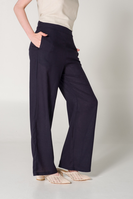 Bol Paçalı Keten Lacivert Pantolon