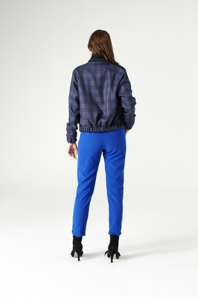 Plaid Bomber Jacket (Indigo) - Thumbnail
