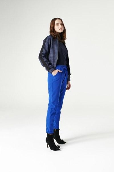 MIZALLE - Plaid Bomber Jacket (Indigo) (1)