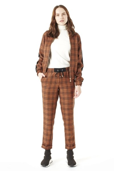 MIZALLE Plaid Bomber Jacket (Brown)