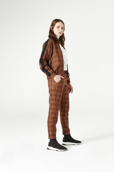 MIZALLE - Plaid Bomber Jacket (Brown) (1)