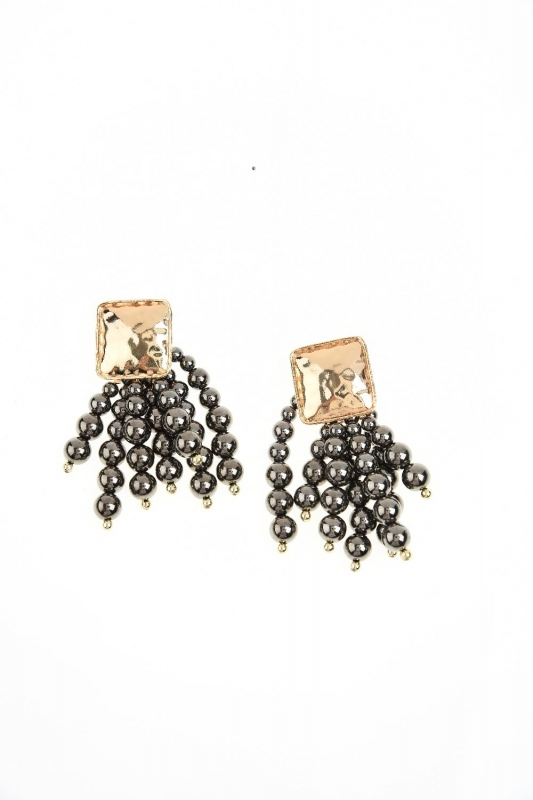 Bead Detailed Earring (Anthracite)