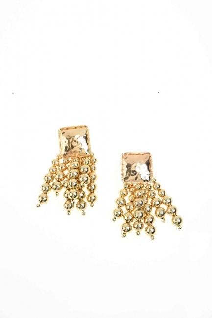 Bead Detailed Earring (Gold) - Thumbnail