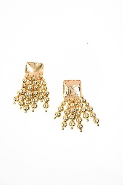 MIZALLE Bead Detailed Earrings (Yellow)
