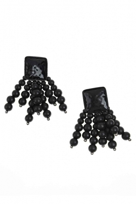 MIZALLE - Bead Detailed Earring (Black) (1)