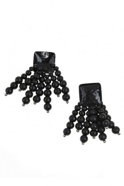 MIZALLE Bead Detailed Earring (Black)