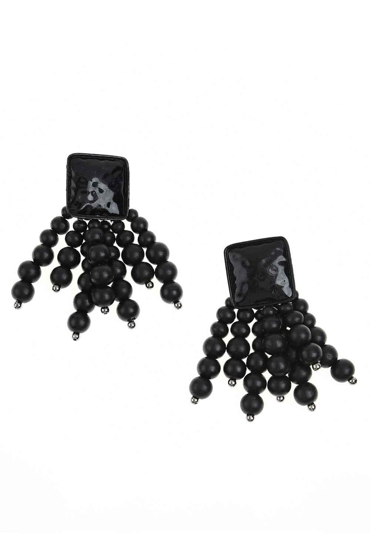 MIZALLE Boncuk Detaylı Küpe (Siyah) (1)