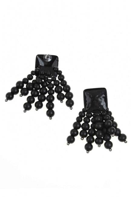 MIZALLE Boncuk Detaylı Küpe (Siyah)