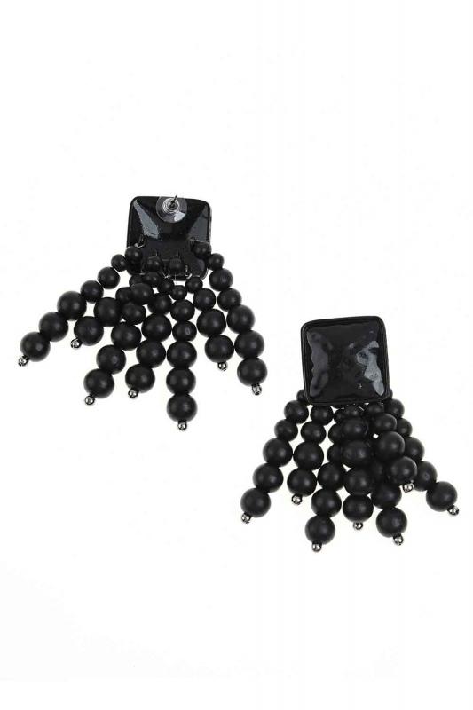 Boncuk Detaylı Küpe (Siyah)