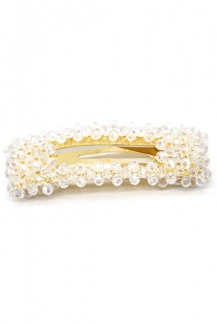 MIZALLE Bead Detailed Rectangle Hair Clips (White)