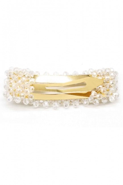 MIZALLE - Bead Detailed Rectangle Hair Clips (White) (1)
