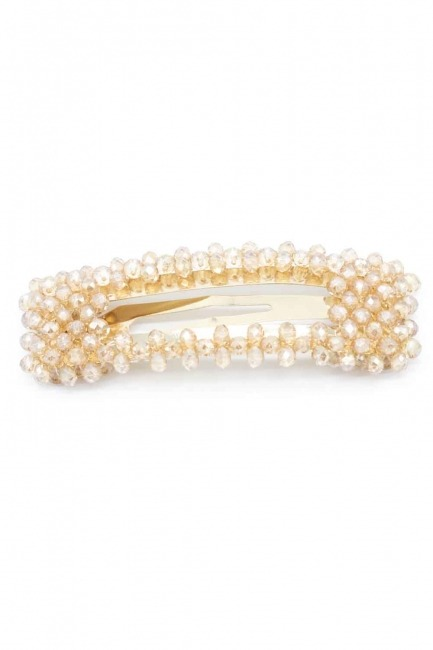MIZALLE Bead Detailed Rectangle Hair Clips (Cream)