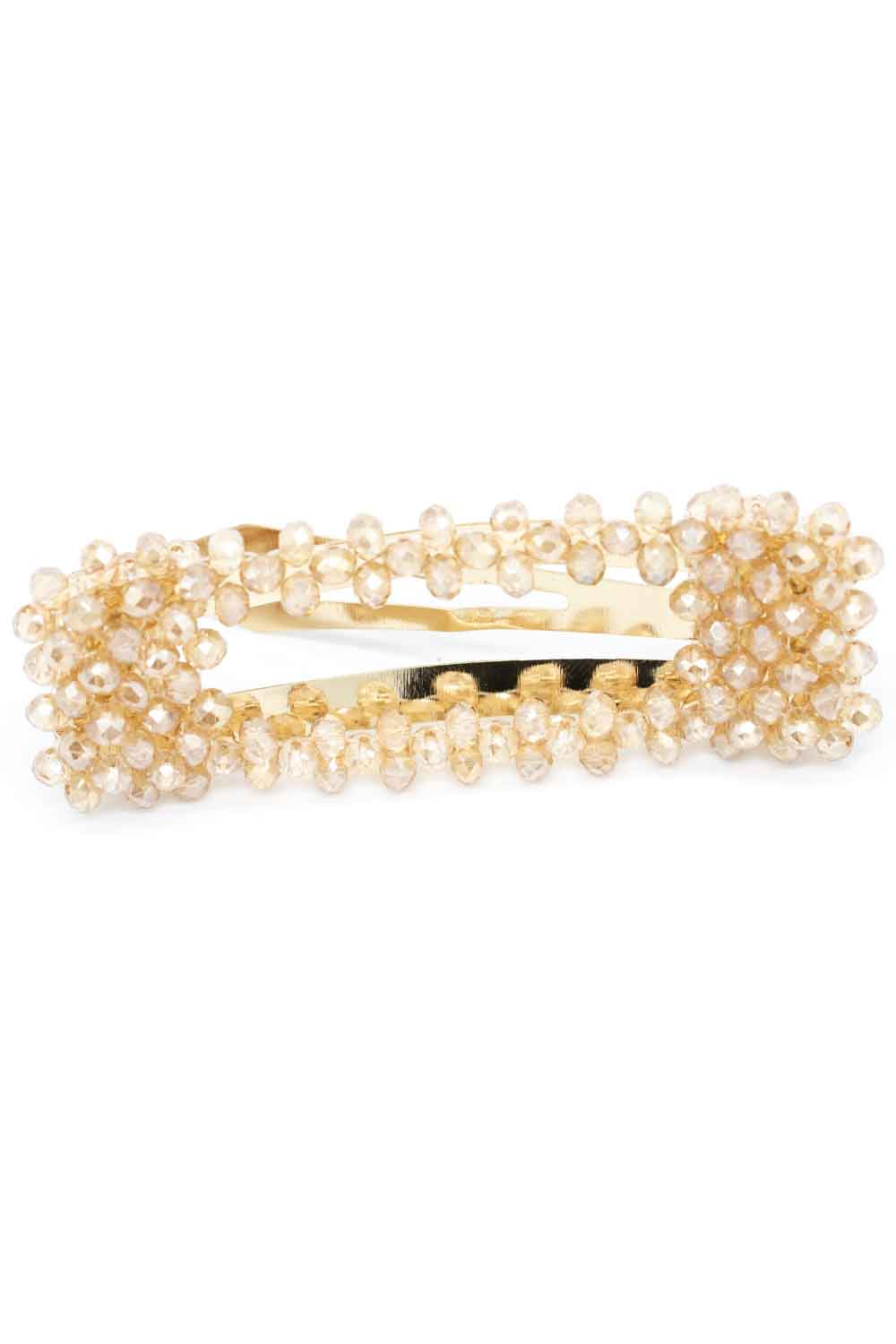 MIZALLE Bead Detailed Rectangle Hair Clips (Cream) (1)