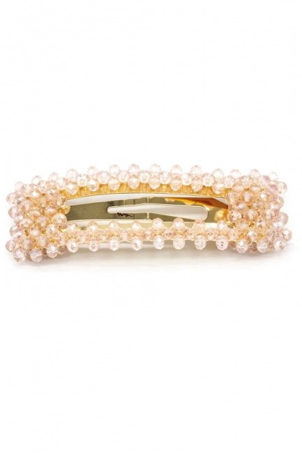 MIZALLE Bead Detailed Rectangle Hair Clips (Pink)