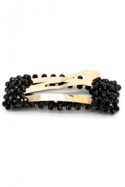 Bead Detailed Rectangle Hair Clips (Black) - Thumbnail