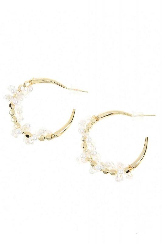 Beaded Ring Steel Earrings (St)