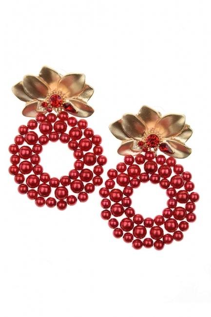 Beaded Big Earrings (Red) - Thumbnail