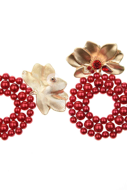 MIZALLE Boncuklu Büyük Küpe (Kırmızı) (1)