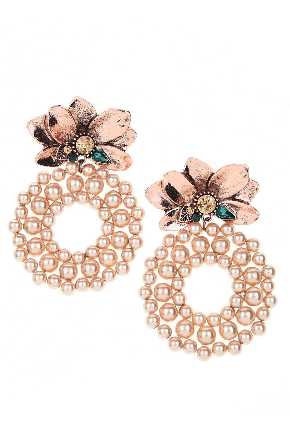 MIZALLE Beaded Big Earrings (Rose) (1)