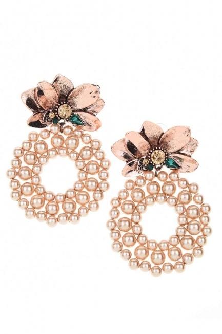 Beaded Big Earrings (Rose) - Thumbnail