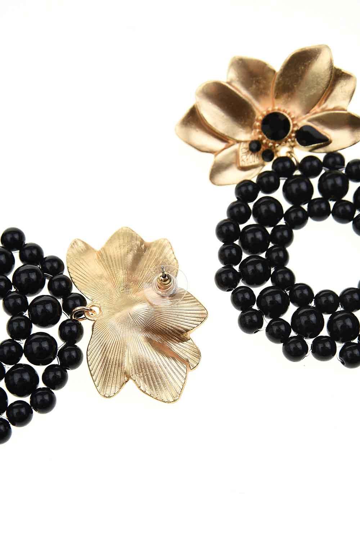 MIZALLE Boncuklu Büyük Küpe (Siyah) (1)
